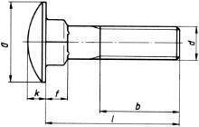 Šrouby vratové se zaoblenou hlavou a čtyřhranem ČSN 02 1319 - DIN 603