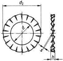 Podložka vnější ozubená ČSN 02 1745 - DIN 6798 A